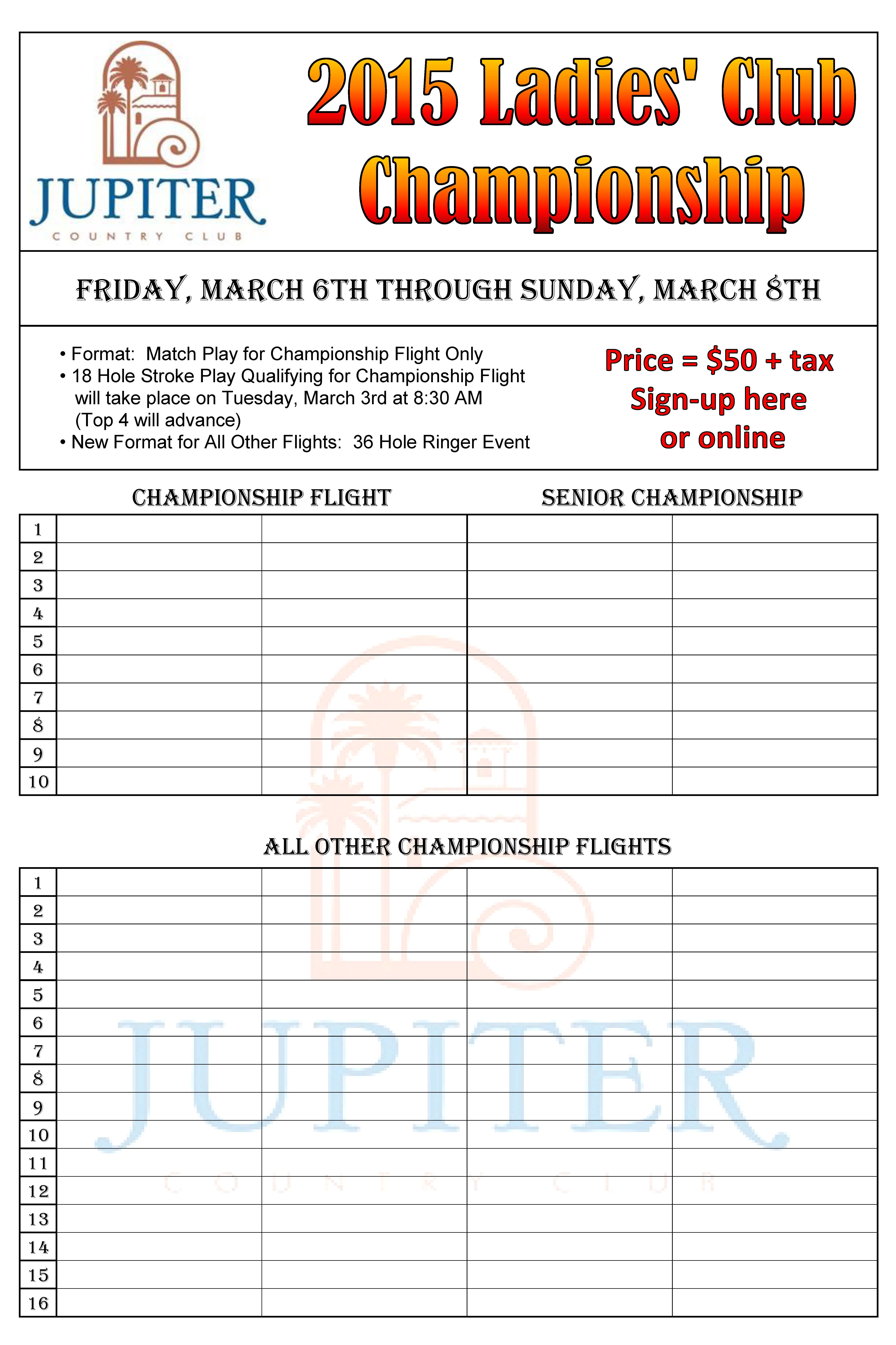 tournament sign up sheet